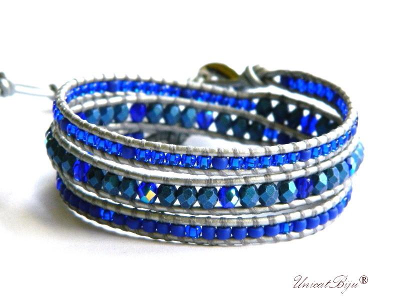 bratara wrap piele naturala, cristale bohemia, margele toho, bratara metalizata, bijuterii unicat, boho style, albastru cobalt, argintiu, unicatbiju