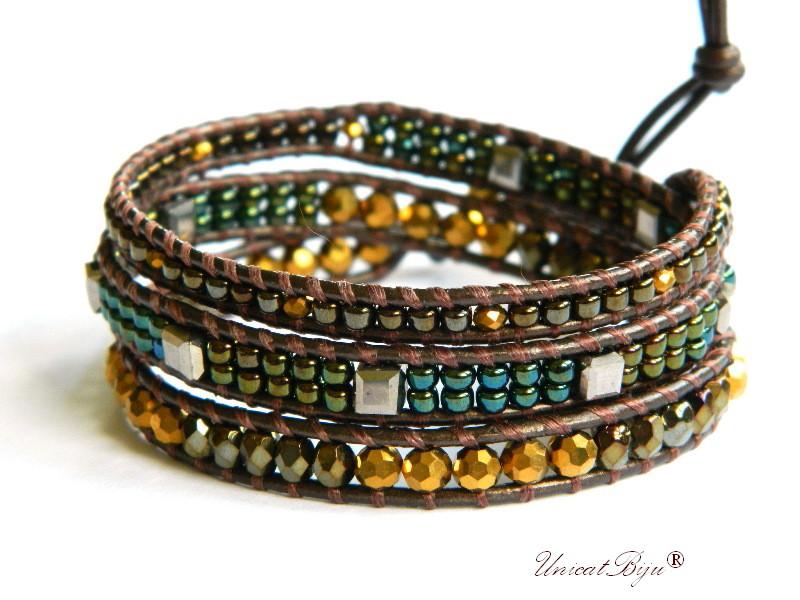 bratara wrap piele naturala, cristale bohemia, margele toho, bratara metalizata, bijuterii unicat, boho style, bronz, verde, unicatbiju