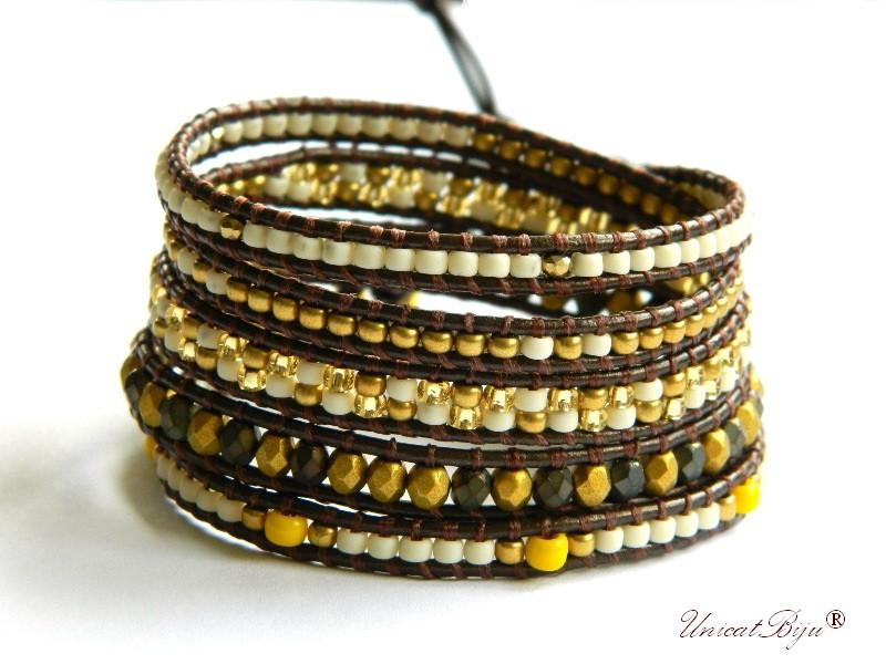 bratara wrap piele naturala, cristale bohemia, margele toho, bratara metalizata, bijuterii unicat, boho style, galben, bronz aurit, unicatbiju