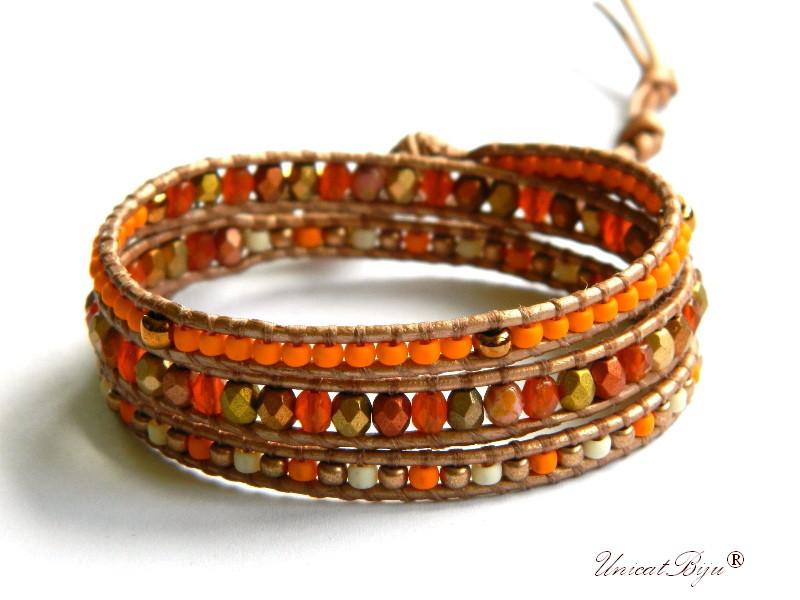 bratara wrap piele naturala, cristale bohemia, margele toho, bratara metalizata, bijuterii unicat, boho style, orange, aurit, unicatbiju