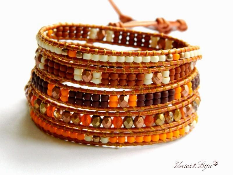bratara wrap piele naturala, cristale bohemia, margele toho, bratara metalizata, bijuterii unicat, boho style, orange, cafea, unicatbiju