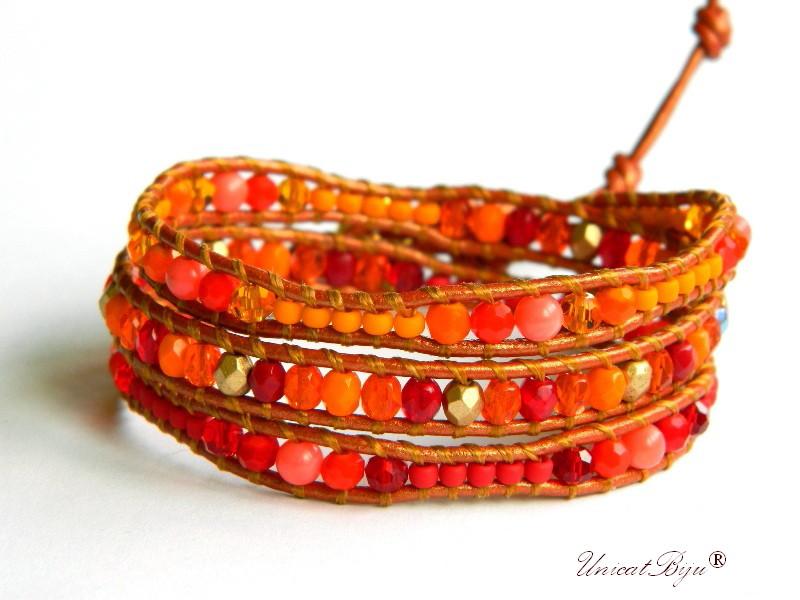 bratara wrap piele naturala, cristale bohemia, margele toho, bratara metalizata, bijuterii unicat, boho style, orange, rosu, unicatbiju
