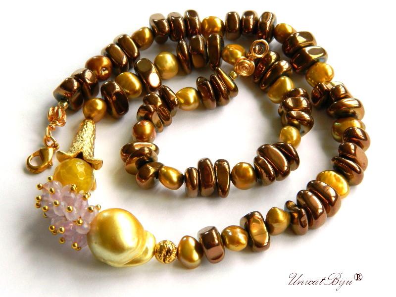 colier hematit placat bronz, perla keshi galbena, ametist, agat dantelat, aurit, bijuterii semipretioase unicat, perle sidef natural, unicatbiju