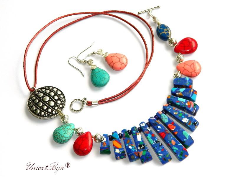 colier magnezit multicolor, turcoaz, bijuterii semipretioase unicat, salba argintata, albastru, unicatbiju