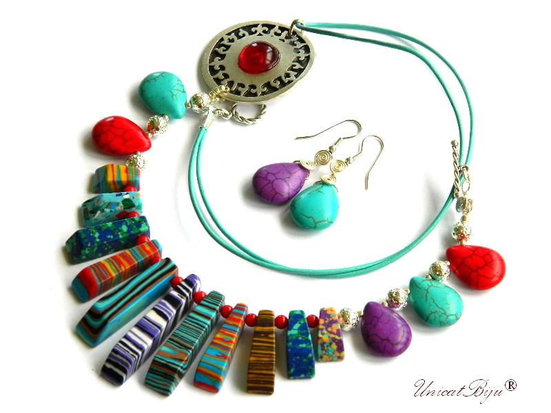 colier magnezit multicolor, turcoaz, bijuterii semipretioase unicat, salba argintata, rosu, mov, unicatbiju