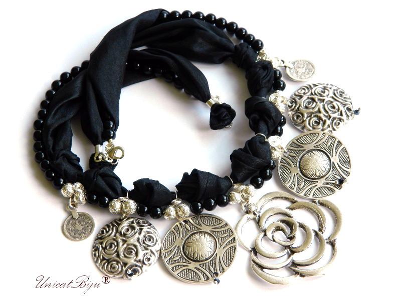 colier salba argintata, floare argintata masiva, bijuterii statement, semipretioase, onix negreu, matase naturala, unicatbiju
