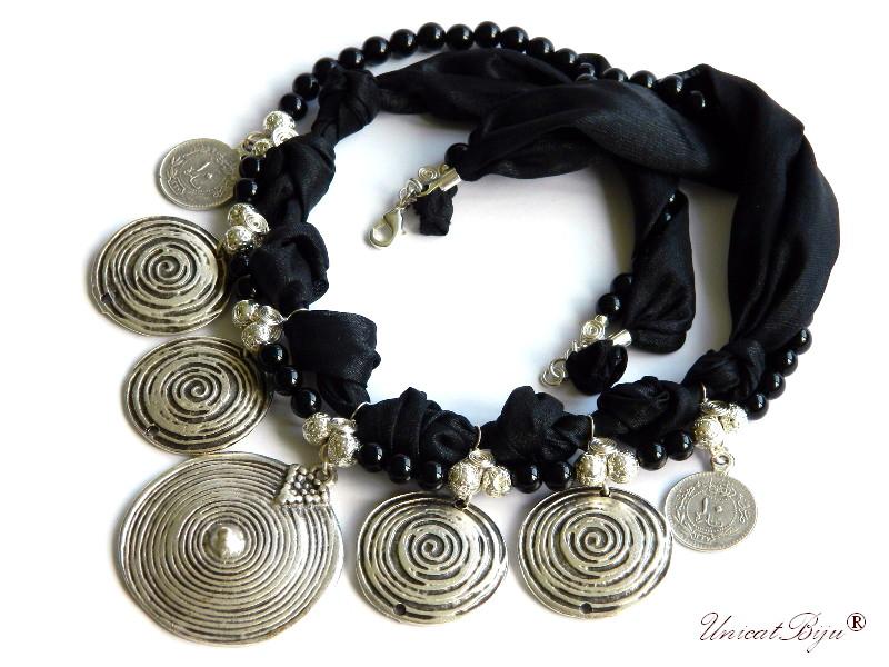 colier salba masiva argintata, bijuterii statement, semipretioase, onix negreu, matase naturala, unicatbiju
