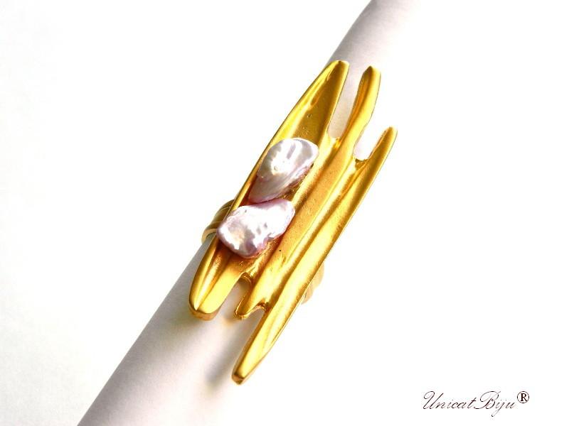 inel placat aur, floare, bijuterii semipretioase unicat, inel perla, perle keshi roz mov, unicatbiju