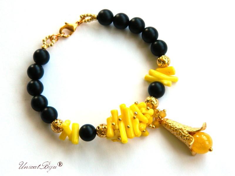 bratara statement, coral galben, jad, calcit, onix mat, rhinestone, bijuterii semipretioase, unicatbiju