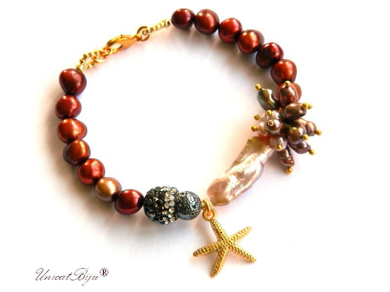 bratara statement, perle bordeaux, keshi, sidef natural bronz curcubeu, stea de mare aurita, biwa, rhinestone, bijuterii semipretioase, unicatbiju