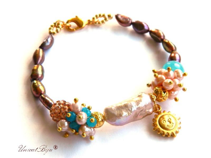 bratara statement, perle keshi, biwa, angelit, perle multicolore, jad albastru, aurit, rhinestone, bijuterii semipretioase, unicatbiju