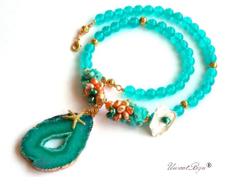 colier statement, jad turcoaz, pandantiv felie agat geoda, perle multicolore, keshi, smarald, stea de mare aurita, bijuterii semipretioase, unicatbiju