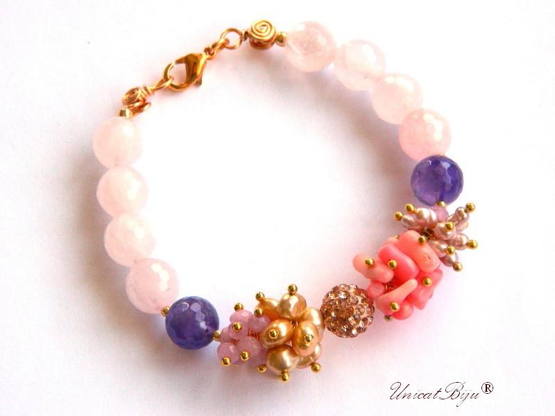 bratara statement, argintat, bijuterii semipretioase unicat, cuart roz, ametist, perle multicolore, sidef natural, keshi, coral roz, unicatbiju