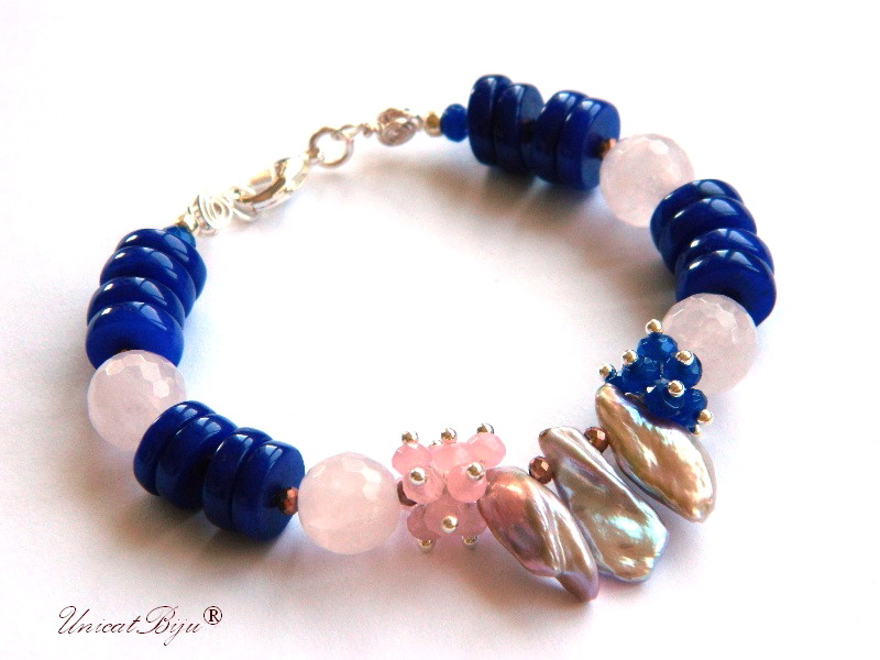 bratara statement, argintat, bijuterii semipretioase unicat, jad albastru, perle keshi roz, cuart roz, unicatbiju