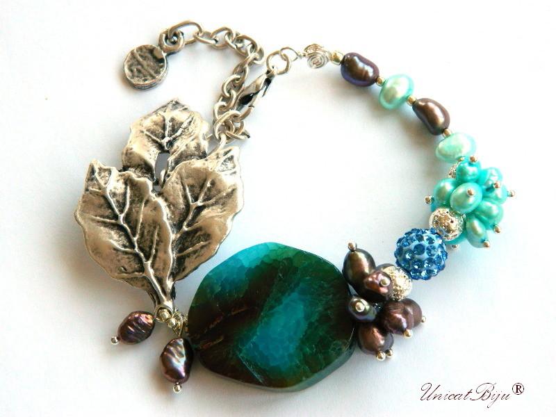 bratara statement, argintat, bijuterii semipretioase unicat, perle cupru, keshi, perle turcoaz, agat masiv, unicatbiju
