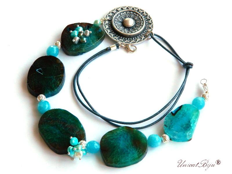 colier statement, bijuterii semipretioase unicat, agat masiv, angelit, perle multicolore, sidef natural, salba argintata, unicatbiju