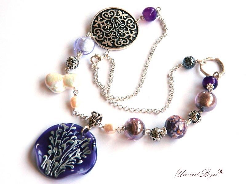 colier statement, perle murano foita argint, murano pictat manual, salba argintata, perla keshi, sidef natural, mov, unicatbiju