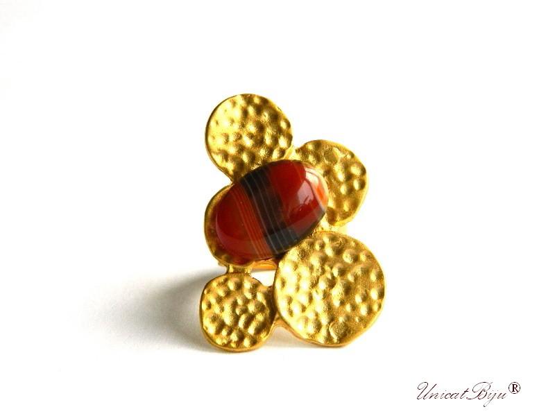bijuterii semipretioase unicat, inel statement, inel baza reglabila, aurit, placat cu aur, agat indian rosu, unicatbiju