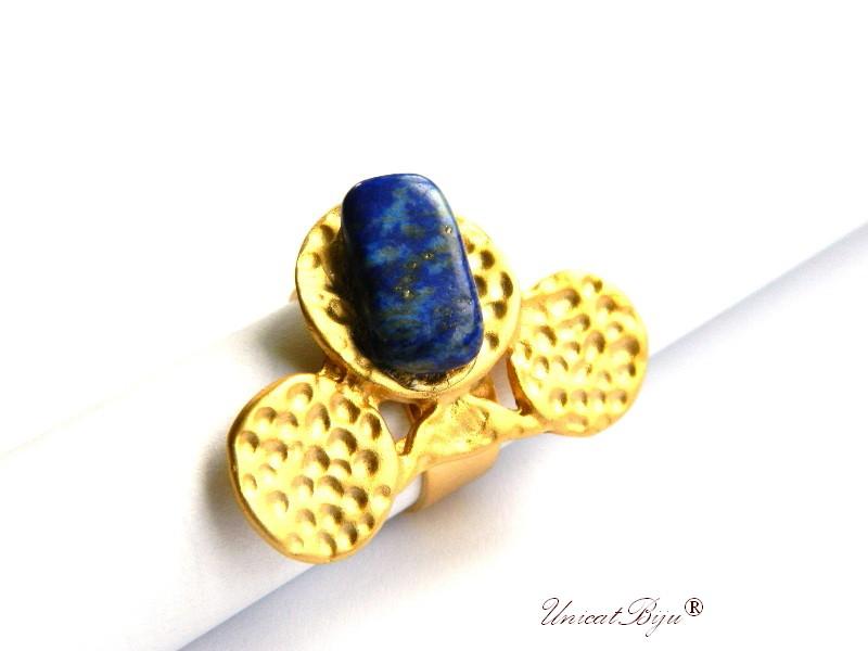 bijuterii semipretioase unicat, inel statement, inel baza reglabila, aurit, placat cu aur, lapis lazuli, unicatbiju