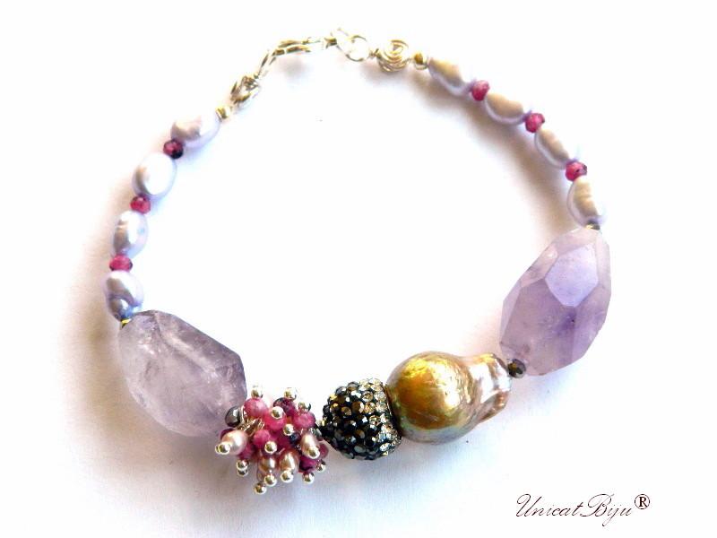 bratara statement, ametist masiv, rubin zoisite, perle keshi, perle mov, sidef natural, bijuterii semipretioase unicat, unicatbiju