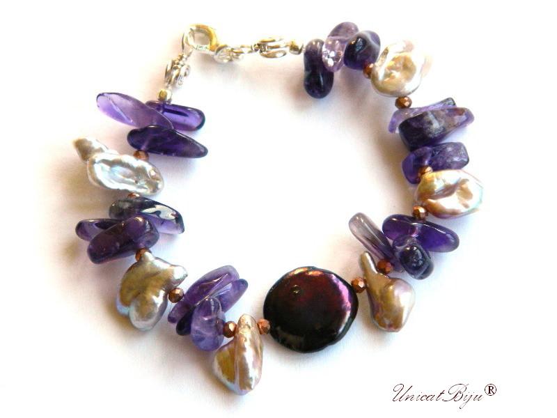 bratara statement, ametist, perle keshi roz, perle negre paun, sidef natural, bijuterii semipretioase unicat, unicatbiju