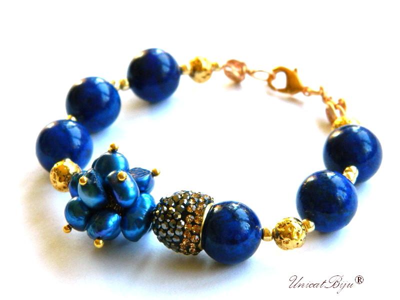bratara statement, lapis lazuli masiv, rhinestone, perle albastre, keshi, sidef natural, bijuterii semipretioase unicat, unicatbiju
