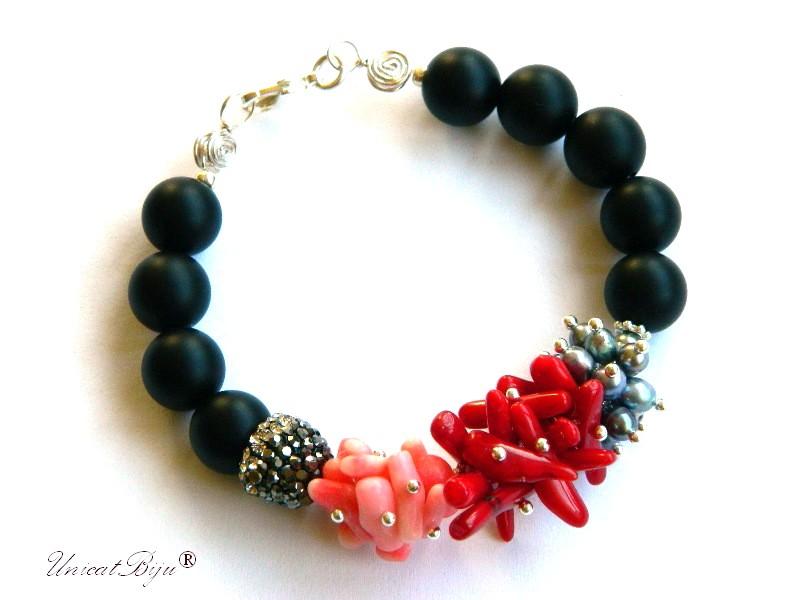bratara statement, onix negru mat, coral roz, coral rosu, perle gri, keshi, bijuterii semipretioase unicat, rhinestone, unicatbiju