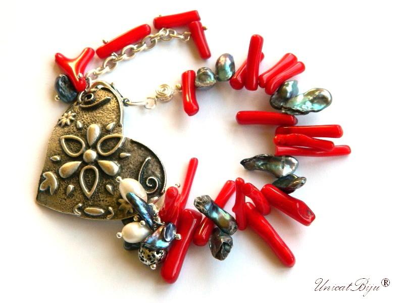 bratara statement, perle keshi negre, coral rosu, perle gri, inima argintata, bijuterii semipretioase unicat, unicatbiju