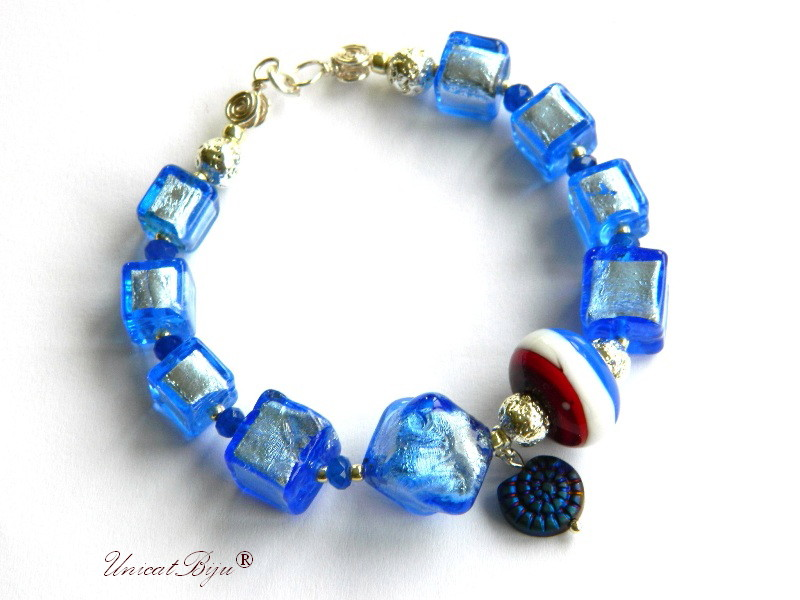 bratara statement, perle murano foita argint, sidef natural, semipretioase, millefiori, french, albastru, unicatbiju
