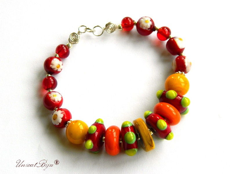 bratara statement, perle murano foita argint, sidef natural, semipretioase, millefiori, multicolor, orange, unicatbiju