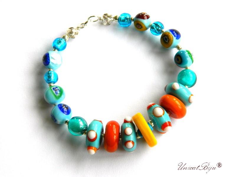 bratara statement, perle murano foita argint, sidef natural, semipretioase, millefiori, multicolor, turcoaz, unicatbiju