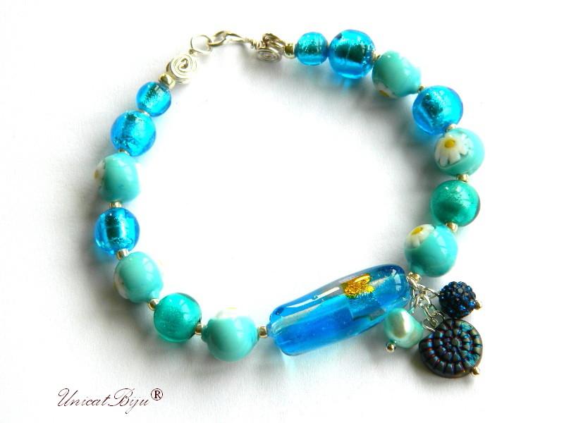 bratara statement, perle murano foita argint, sidef natural, semipretioase, millefiori, turcoaz, albastru, unicatbiju