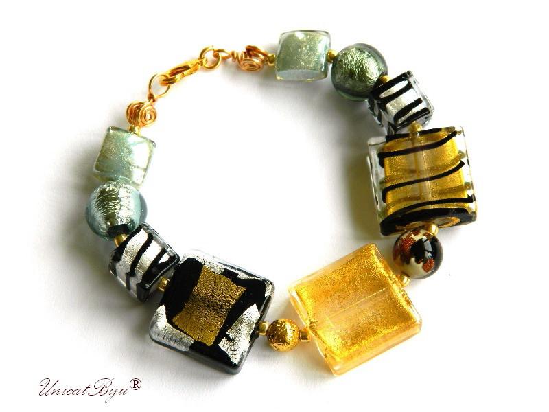 bratara statement, perle murano foita aur, sidef natural, semipretioase, millefiori, aurit, negru, unicatbiju