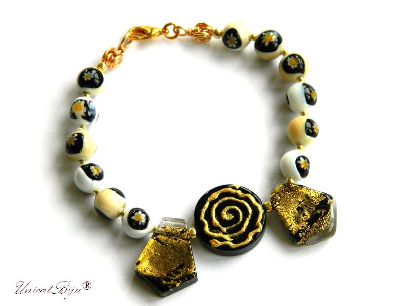bratara statement, perle murano foita aur, sidef natural, semipretioase, millefiori, negru, aurit, unicatbiju