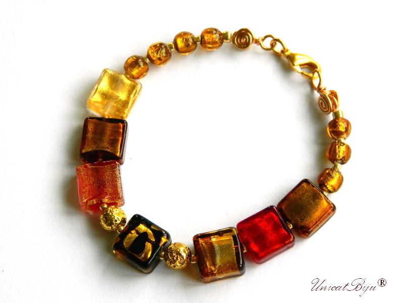 bratara statement, perle murano foita aur, sidef natural, semipretioase, millefiori, rosu aurit, orange, unicatbiju