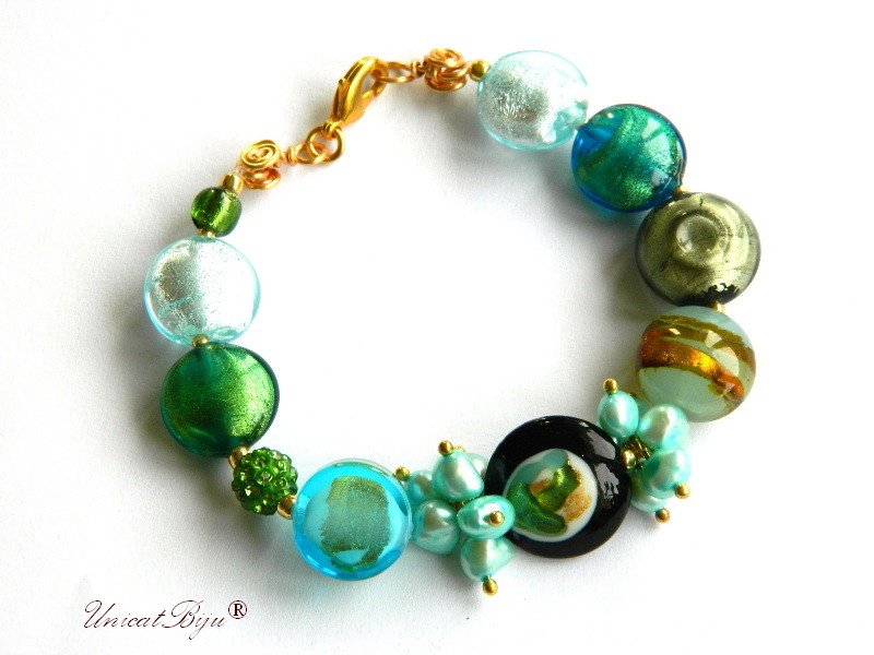 bratara statement, perle murano foita aur, sidef natural, semipretioase, millefiori, turcoaz, auriu, unicatbiju