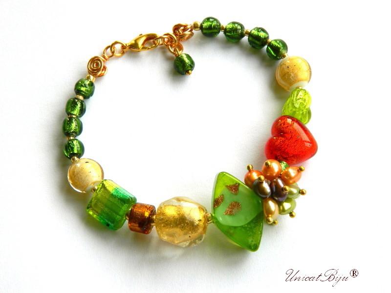 bratara statement, perle murano foita aur, sidef natural, semipretioase, millefiori, verde, orange, unicatbiju