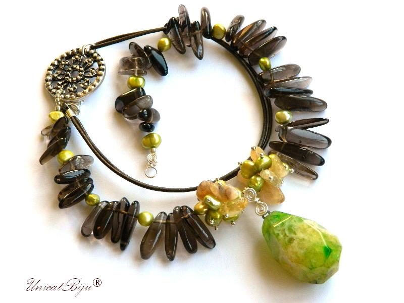 colier statement, cuart fumuriu, bijuterii semipretioase unicat, agat verde, perle verzi, sidef natural, citrin, unicatbiju