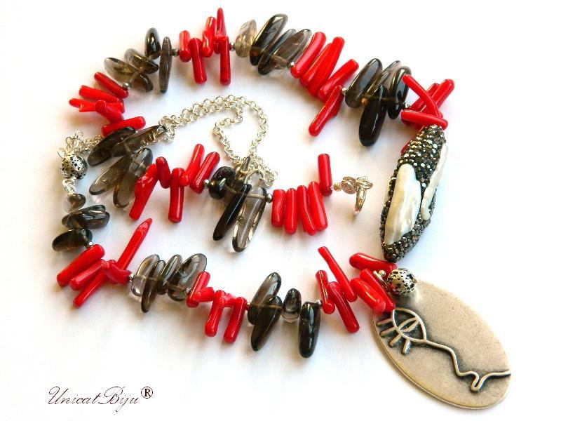 colier statement, cuart fumuriu, coral rosu masiv, bijuterii semipretioase unicat, perle keshi mari, rhinestone, unicatbiju