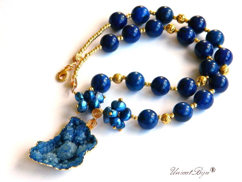 colier statement, lapis lazuli, bijuterii semipretioase unicat, agat druzy aurit, perle keshi albastre, unicatbiju