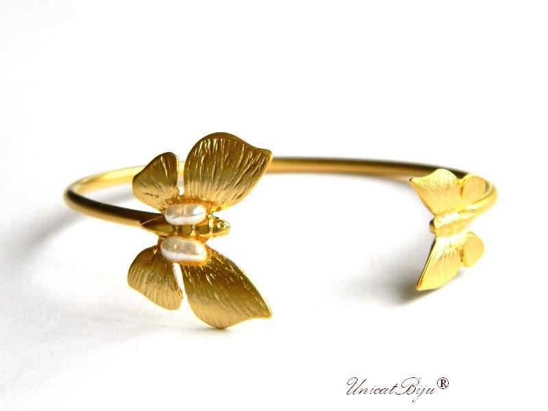 bratara aurita, reglabila, bijuterii statement, perle keshi, fluturi, accesorii aurite, unicatbiju