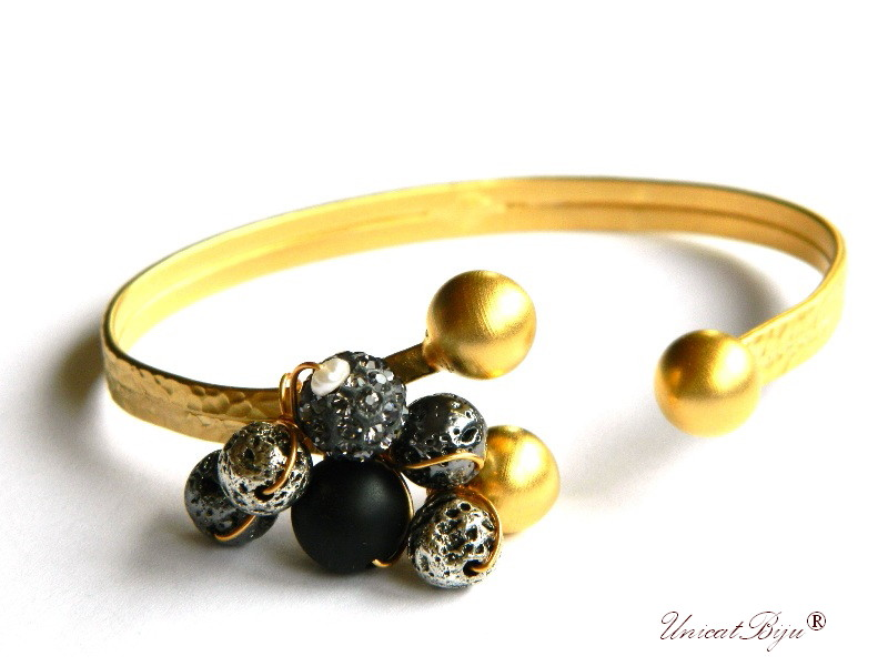 bratara aurita, reglabila, bijuterii statement, rhinestone cristale, lava poros argintat, onix mat, accesorii aurite, unicatbiju