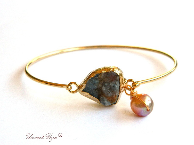 bratara delicata, placata cu aur, agat druzy, perle calitate, sidef natural, gri ambra, unicatbiju, bijuterii semipretioase unicat