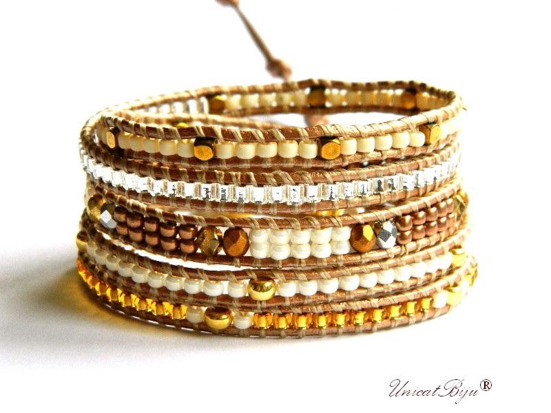 bratara wrap piele naturala, bijuterii statement, boho style, margele toho, cristale bohemia, auriu, gold christmas, unicatbiju
