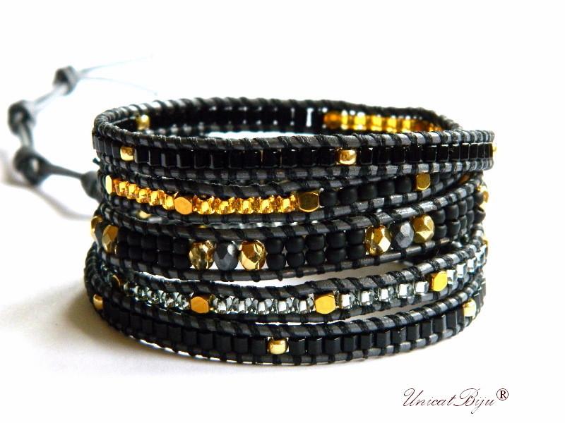 bratara wrap piele naturala, bijuterii statement, boho style, margele toho, cristale bohemia, auriu, negru antracit, unicatbiju