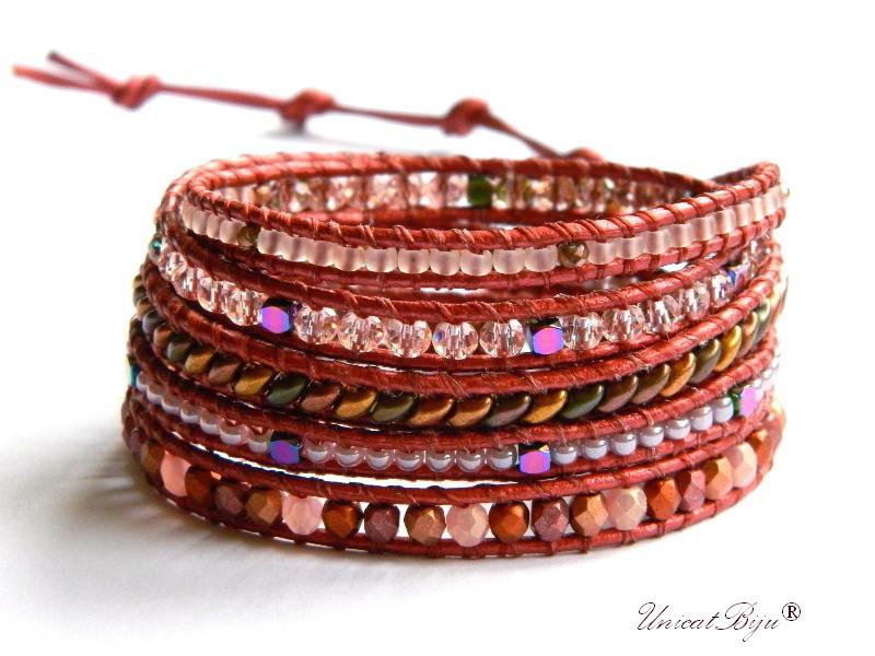 bratara wrap piele naturala, bijuterii statement, boho style, margele toho, cristale bohemia, burgundy, roz, unicatbiju