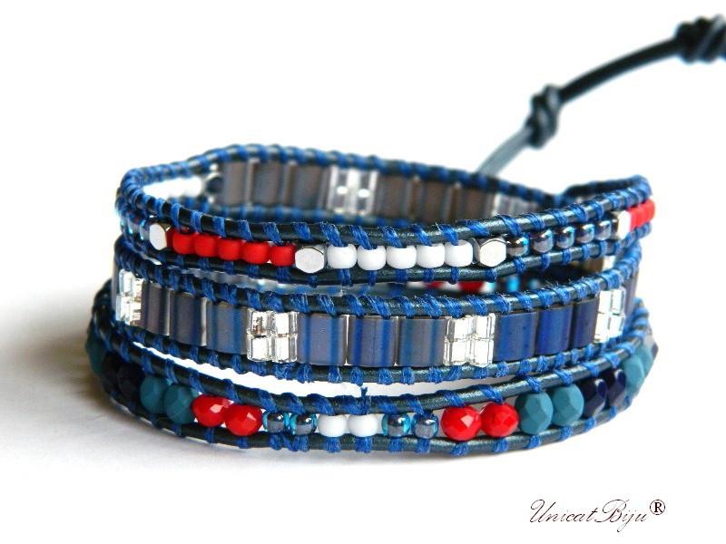 bratara wrap piele naturala, bijuterii statement, boho style, margele toho, cristale bohemia, french, rosu, albastru, unicatbiju