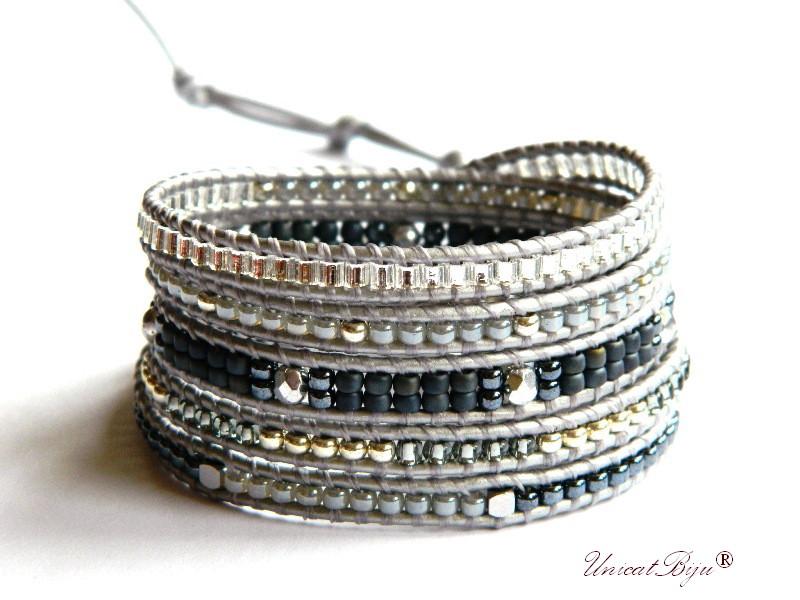 bratara wrap piele naturala, bijuterii statement, boho style, margele toho, cristale bohemia, gri, argintiu, unicatbiju
