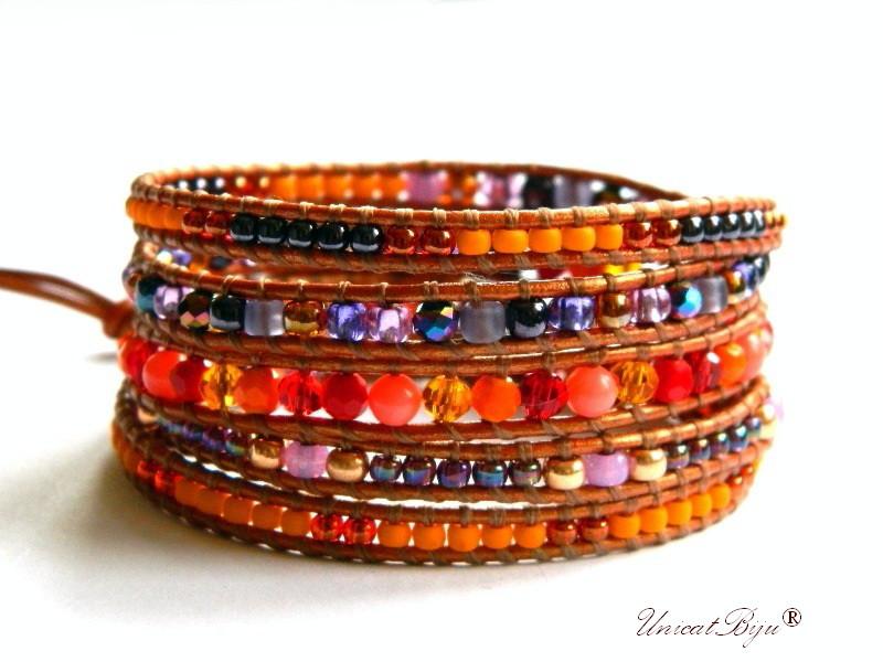 bratara wrap piele naturala, bijuterii statement, boho style, margele toho, cristale bohemia, multicolor, pumpkin, unicatbiju