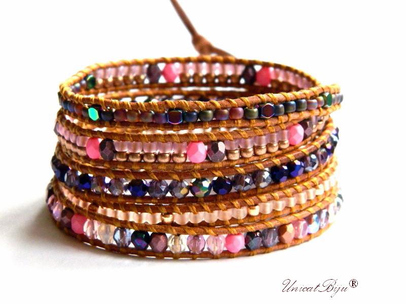 bratara wrap piele naturala, bijuterii statement, boho style, margele toho, cristale bohemia, multicolor, rose peacock, unicatbiju